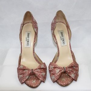 Jimmy Choo Peep Toe Bow Embellished Heeled Sandals